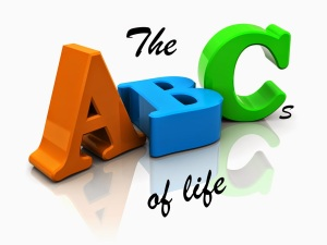 3d illustration of abc letters over white background